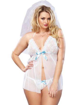 91D-208941 - SexyPlay.es  Leg avenue babydoll blanco novia con tanga talla grande 1x/2x