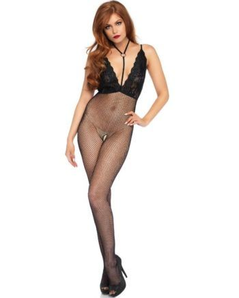 91D-216515 - SexyPlay.es  Leg avenue bodystocking en cuerpo de red y cuello halter talla única