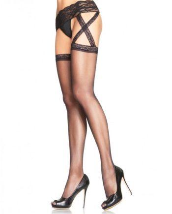 911653 BLACK - SexyPlay.es  Leg avenue medias con liguero de encaje incorporado