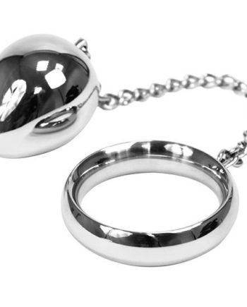 91D-205357 - SexyPlay.es  Metalhard cock ring 50mm  + cadena con bola metal