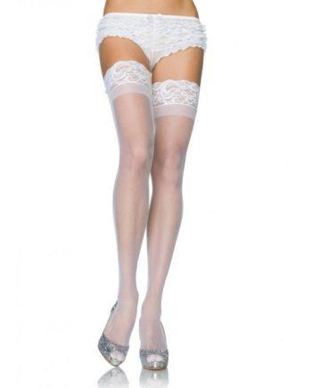 911022 WHITE - SexyPlay.es  Leg avenue medias blancas con silicona y encaje