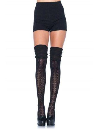 916906 BLACK - SexyPlay.es  Leg avenue calcetines puntilla fruncidos negro