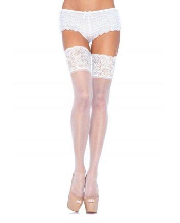 919750 WHITE - SexyPlay.es  Leg avenue medias blancas autoadhesivas con encaje ancho