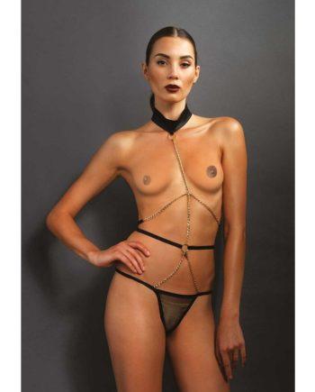 91D-207457 - SexyPlay.es  Leg avenue arnés con escote halter con cadena y tanga de gasa