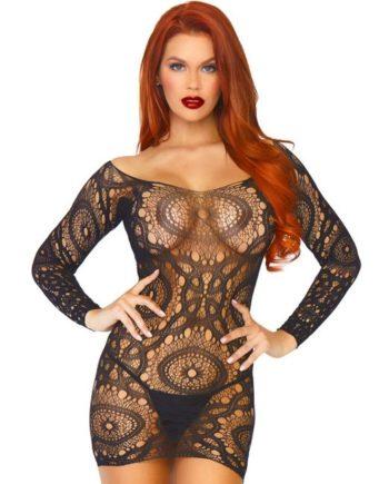 91D-220247 - SexyPlay.es  Leg avenue mini vestido encaje de ganchillos talla única