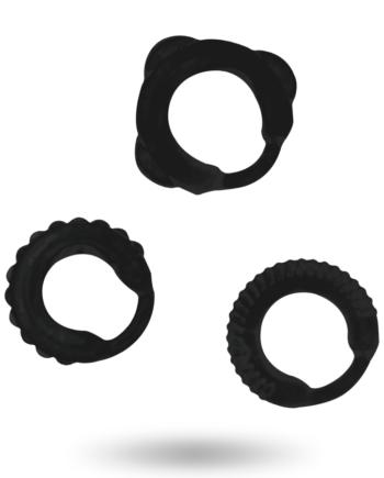 91D-222067 - SexyPlay.es  Addicted toys  set 3 anillos pene negro